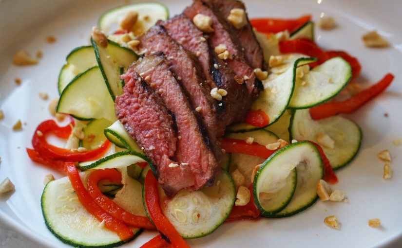 Soy Grilled Steak over Zoodles